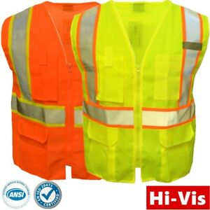Safety Work Hi Vis ANSI Class 2 Reflective Tape Neon Lime Vest High Visibility