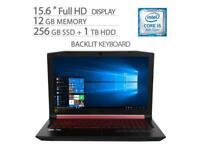 "Acer Nitro 5 15.6"" FHD Laptop, Core i5-8300H, 12GB RAM, 256GB SSD+1TB HDD"