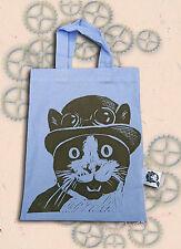 Steampunk Gato Lila Bolso De Mano Bolso Pequeño Rojo Impreso A Mano linograbado impresión de compras