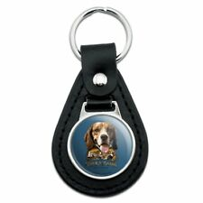 Stock and Barrel Outfitters Beagle Dog Rabbit Hunting Black Leather Keychain