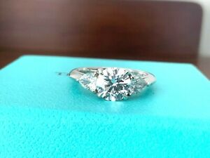 Tiffany & Co Platinum Round w Pears Diamond Engagement Ring 1.58 Ct H VS1 $23k