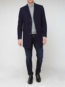 Ben Sherman Men's Navy 3 Button LONG Crombie Warm Overcoat - RRP £229 Size 42R