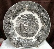 PIECES WITH ISSUES: Russian Kuznetsov Factory Black Transferware Plate