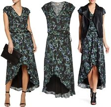 $435 Haute Hippie Tangled Up In Blue Floral Crepe De Chine High Low Dress L