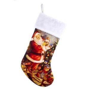 "Kurt Adler Lionel Trains Santa Clause 19"" Christmas Stocking w Fuzzy Plush Cuff"