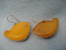 Vintage 9KT.  Gold Amber Fish Earrings