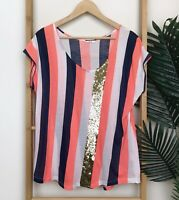 Sass & Bide Sing Brother Striped Sequin T-Shirt Top Size S Short Sleeve Orange