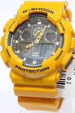 GA-100A-9A Yellow Original Casio Watches G-Shock Analog Digital Resin Band Men