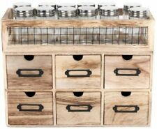 Rustic Industrial 12 Jar Spice Rack With 6 Drawer Storage Cabinet Unit Organise