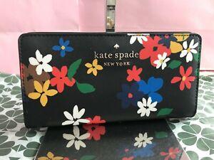 Kate Spade Staci Sailing Floral Large Slim Bifold Wallet wlr00414 Black Multi