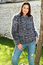 6 Strands Hand Knitted Mohair Sweater Designer Black Gray Crewneck EXTRAVAGANTZA
