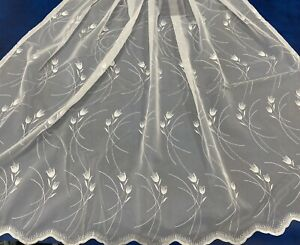 BRAND NEW Embroidered Tulip voile Net with slot top, Scalloped Bottom , All Size