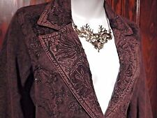 STEAMPUNK brown/black damask embellished acid wash riding boho jacket/blazer 4 M