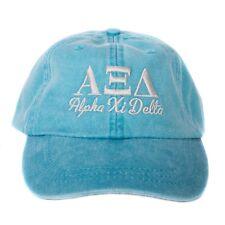 ad79985f6d2 Alpha Xi Delta Script Design Bright Blue with Gray Thread Baseball Hat