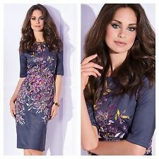 Kaleidoscope Size 10 Simply Fab Purple Floral Print Scuba DRESS Occasion £59