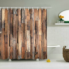 Shower Curtain Decor Set Wooden Board Decorative Pattern Bath Curtains +12 Hooks