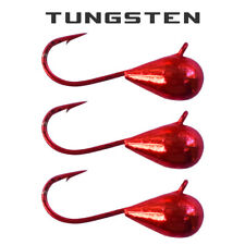 3 Pack - Tungsten Ice Fishing Jigs - METALLIC RED (6 Size Variations)