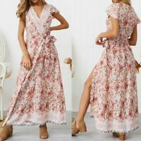 Party cocktail summer beach evening maxi sundress long Women's floral boho dress