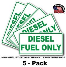 5 PACK Diesel Fuel Only Vinyl Decal Sticker Label Fuel Door Turbo Waterproof