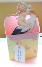 Stork Nuevo Bebé Niña Nacimiento felicitaciones 3D pop-up Tarjeta Rosa Estilo Vintage