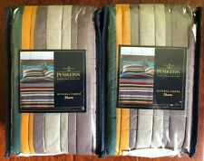 2 Pendleton Set of 2 Mineral Umber Yamkima Camp Striped King Pillow Shams Nwt