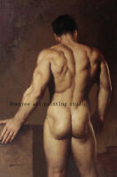 """Art prints canvas transfer from oil painting male nudes back men 24x36"""""""