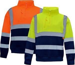 New Hi Viz Vis Visibility 1/4 Zip Two Tone Sweatshirt Jumper Work Wear M - XXL