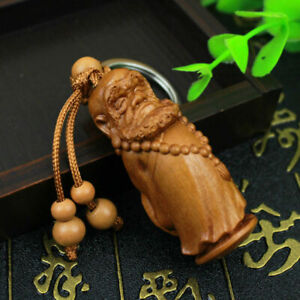 Dharma Patriarch Bodhidharma Statue Chinese Wood 3D Carving Keyring Key Chain