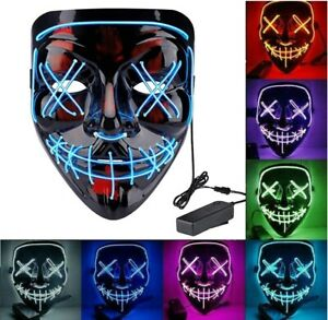 Máscara de la Purga con luz led careta Discoteca noche disfraz Halloween fiestas