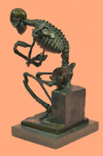 Signed: Milo Bronze Statue Skull Skeleton thinker sculpture Hot Cast Figurine