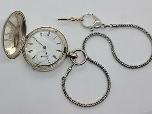 1882 ELGIN G.M. Wheeler Victorian Coin Silver Key Wind Full Hunter Pocket Watch