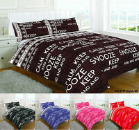 Keep Calm And Snooze Duvet Cover With Pillowcases Size Double King Super Single
