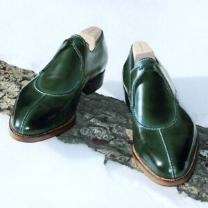 Handmade green leather dress shoes, men real leather formal shoes, laces shoes