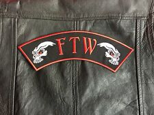 FTW Patch F * ck the World Biker Patch écusson Skull 30x8cm Blouson 81 Red & White