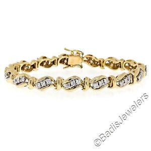 Solid 14K TT Gold 1.80ctw Fine Round Brilliant Diamond Wavy Link Tennis Bracelet