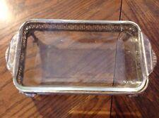 Vintage Silver Plate Dish Holder Footed Handled + Glass Casserole Dish KMJZ
