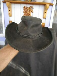 Genuine Black Leather Western Cowboy HAT   Large