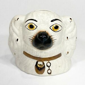 Staffordshire Dog Head Money Box English Ceramic Porcelain Coin Bank