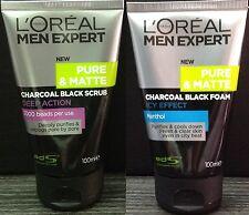 2x 100mL LOREAL MEN EXPERT Pure Matte ICY CHARCOAL SCRUB Face Wash Foam Cleanser
