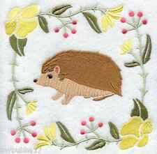 HEDGEHOG IN THE WILD FLOWERS SET OF 2 BATH HAND TOWELS EMBROIDERED BY LAURA
