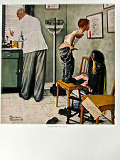 Norman Rockwell Poster Before the Shot 14x11 Offset Lithograph Unsigned