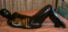 Mummy Style lycra spandex zentai catsuit metallic black body tube size S-XXL