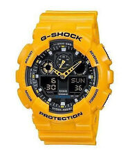 Casio G-Shock GA-100A-9A Wristwatch - Analogue Digital Yellow - Brand New