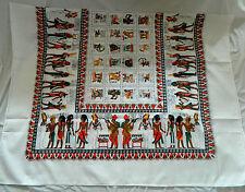 """Egyptian Cotton Isis Horus Tut Tablecloth Napkins Rectangular White 84""""X 56"""" #13"""