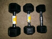 CAP Rubber Coated Hex Dumbbell Singles 15lb, 10lb, 8lb ~ FAST FREE SHIPPING