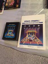 Atari VIDEO PINBALL Game Program Cartridge & Instructions for Atari 2600