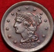 Uncirculated 1852 Philadelphia Mint Copper Braided Hair Large Cent