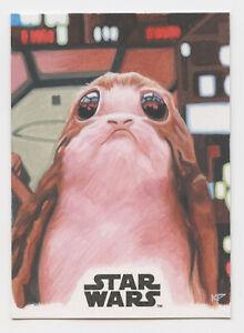 Star Wars The Last Jedi sketch card Porg by Kris Penix