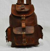 NEW Real Genuine Leather Men Backpack Satchel Brown Vintage Bag