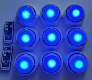 9 - DURACELL LED Puck Lights With Directional Base & 2 Remotes, New Batteries.